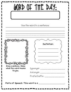 NUMBER AND WORD OF THE DAY FREEBIE! - TeachersPayTeachers.com