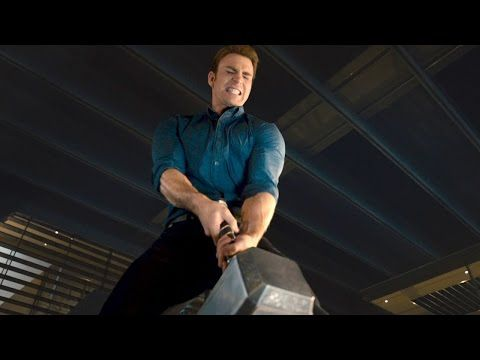"THE AVENGERS 2 Age of Ultron Movie Clip ""Lifting Thor's Hammer"" - YouTube...I LOVE THOR'S FACE WHEN CAPTAIN MOVED IT A LITTLE!!!!!"