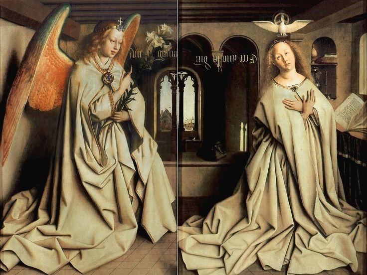 "http://s019.radikal.ru/i632/1409/31/d54e209bab55.jpg Ян ван Эйк (Jan van Eyck, circa 1390–1441) - Гентский алтарь, 1432 ... ""Благовещение"" Гентский алтарь, деталь"