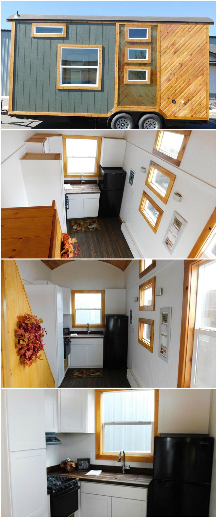 Pioneer is a lovely tiny house built by Tiny Idahomes.  The house features white bead board walls, pine ceiling, and pine trim. Warm Oak TrafficMaster one piece vinyl flooring was used throughout the house.  The kitchen features white Arcadia cabinets, butcher block countertops, an apartment style refrigerator, a stainless steel undermount sink, and a tall pantry cabinet.