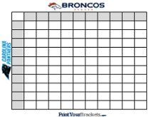 Printable Super Bowl Squares - 100 Square Grid Office Pool