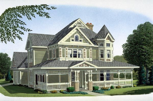 Elevation of Country Farmhouse Victorian House Plan 95540