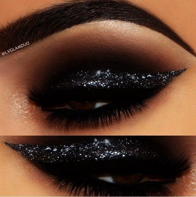Smoky Black Glitter Eye Makeup Idea #michaelthesalon Mehr #eyeshadowlooks – Eye Makeup