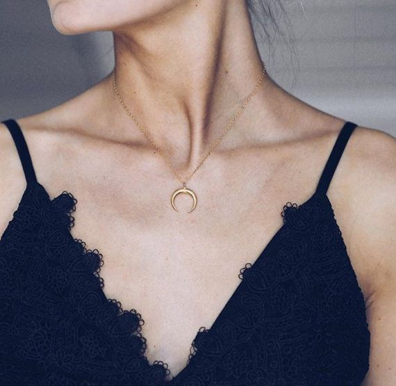 Horn Necklace Double Horn Necklace Gold Rose Gold by amandadeer