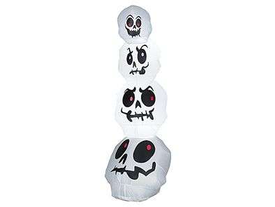 Stack 'em high and watch trick-or-treaters flee in terror when you set out this inflatable tower of spooky, ghostly skulls!