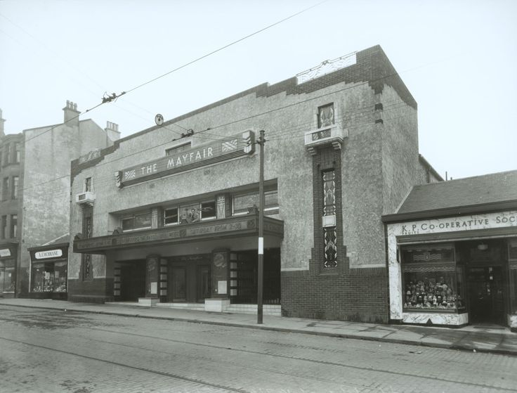 The Mayfair was opened in Sinclair Drive in Battlefield in 1934. The architect, Eric A Sutherland, produced an eccentric facade combining roughcast, stained glass, bricks and wrought ironwork. The Mayfair was taken over by ABC in 1935, and closed in 1973. - TheGlasgowStory