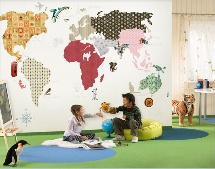 Find More Wallpapers Information About World Map D Photo Murals - World map for boys room