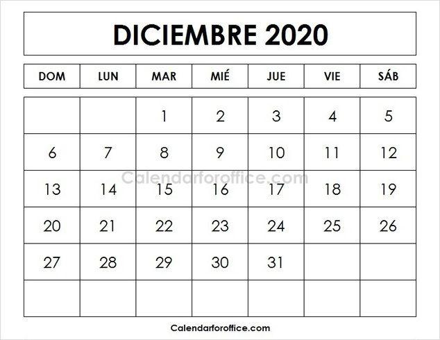 calendario 2020 diciembre