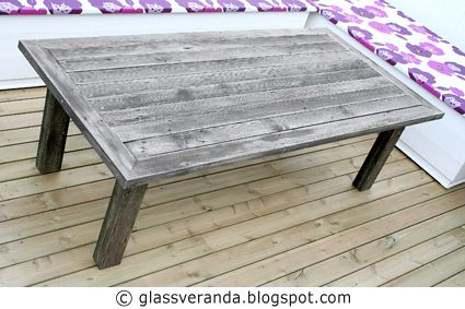 Glassveranda: Gjør-det-selv/DIY: Gamle grå rustikke terrassegulv kan også bli et tøft hagebord!