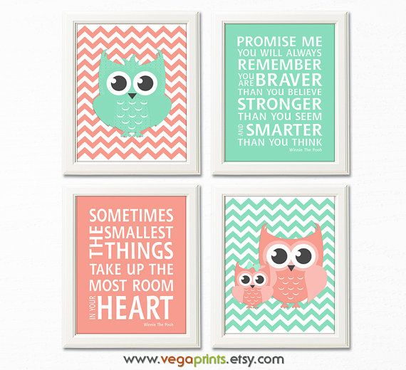 Coral and mint owl nursery art print - UNFRAMED- baby girl wall art, typography, light coral, mint, chevron, quote, Winnie the pooh
