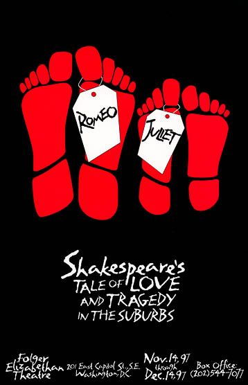 Promotional poster for 1997 Folger Theatre production of Romeo and Juliet. #Shakespeare #FolgerLibrary #Shax450