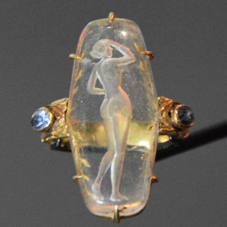 René Lalique . Anello. Vetro inciso. Ca 1904 - 1906