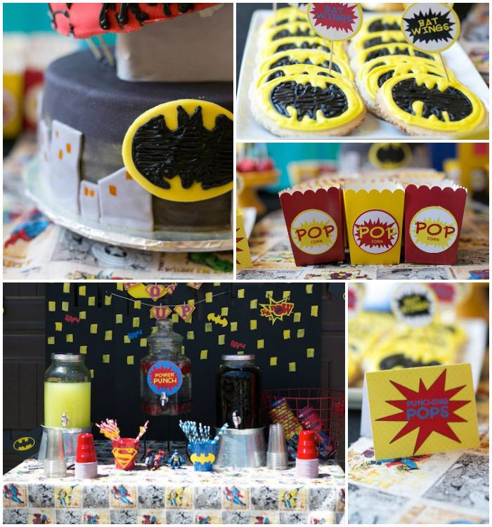 Superhero themed birthday party with SO MANY AWESOME IDEAS via Kara's Party Ideas | Cake, decor, cupcakes, games and more! KarasPartyIdeas.c...