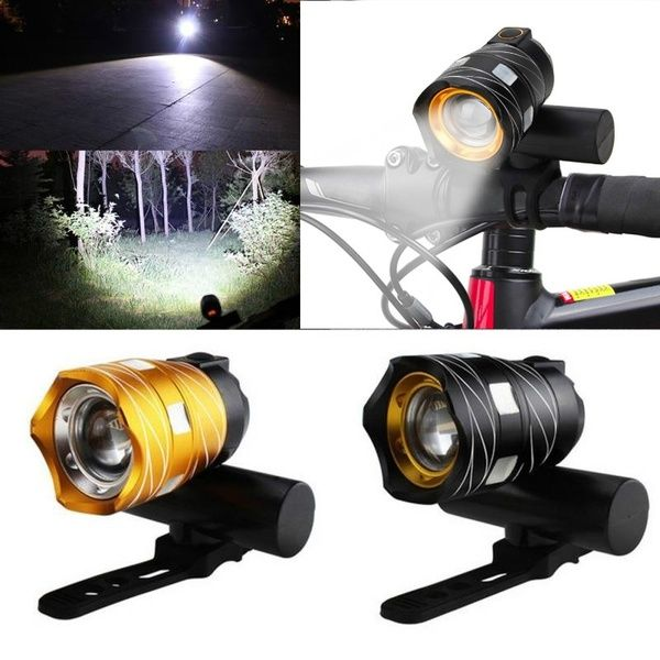 USB Rechargeable XM-L T6 LED Zoomable Bike Bicycle Front Head Light With Battery