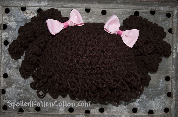 Cabbage Patch Kid Crochet Hat Wig Dark Brown Curly Hair Infant Toddler Adult  #SpoiledRottenCotton