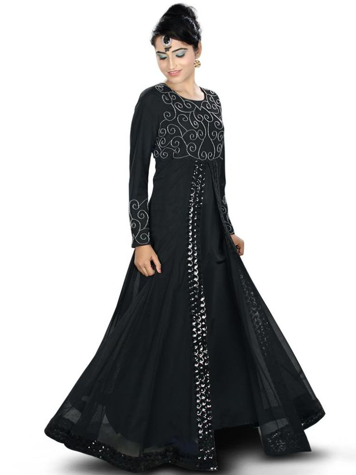 Beautiful Handwork Embroidered Black Party Wear Abaya| MyBatua.com Amirah Abaya! Style No : AY-334 Shopping Link : http://www.mybatua.com/amirah-abaya Available Sizes XS to 7XL (size chart: http://www.mybatua.com/size-chart/#ABAYA/JILBAB • Party wear Abaya with round neckline • Front slit with lace detailing • Bead hand embroidery in front • Straight sleeves with matching embroidery