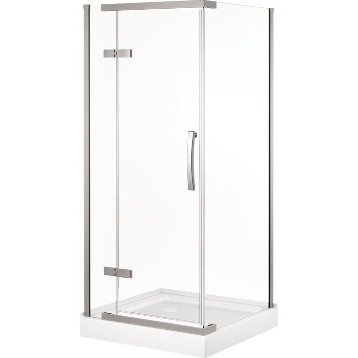Delta 36 in. x 36 in. Frameless Corner Shower with Stainless Steel Shower Door in Clear and ProCrylic Shower Base in White