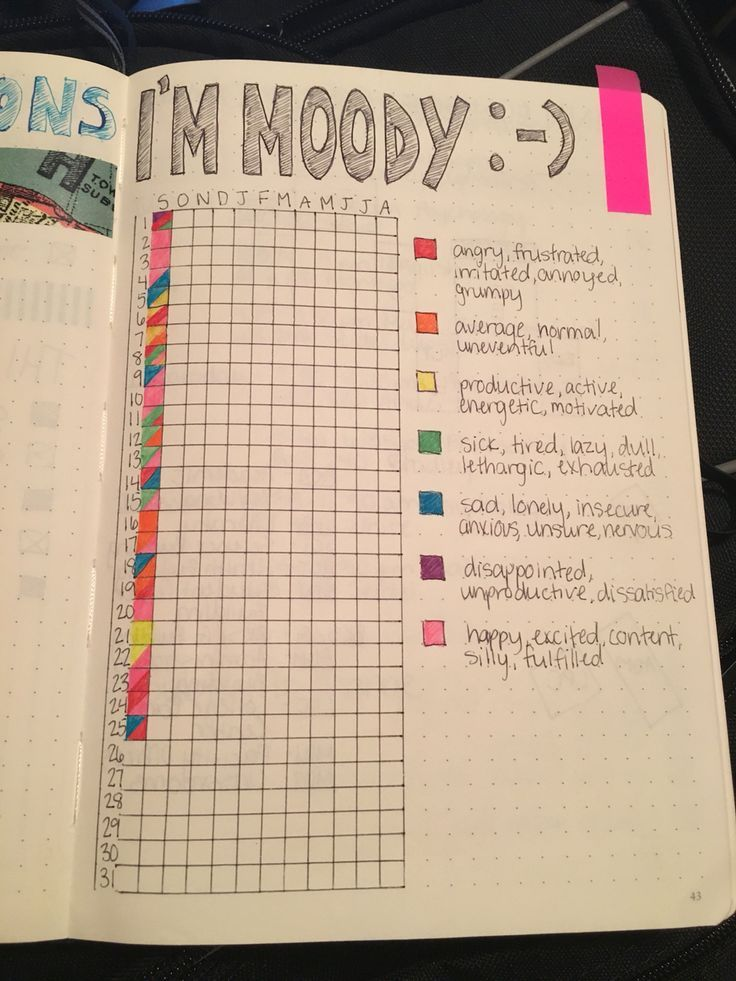I love my bullet journal! Most of the mood trackers I have seen only use one color for each square, but my days are full of emotions!