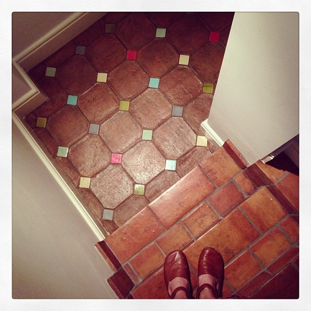 walking from one handmade  tile to another... going down to my basement laundry
