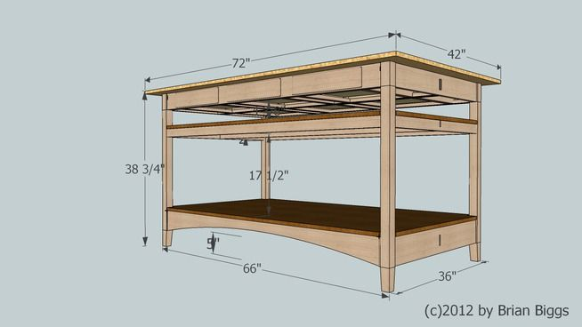 Cutting Table for Sewing Room - 3D Warehouse | A basic frame work for a cutting table. The bottom section will actually hold 4 cabinets for additional storage. The top shelf is left shallow and open for cutting mats, templates and various guides.