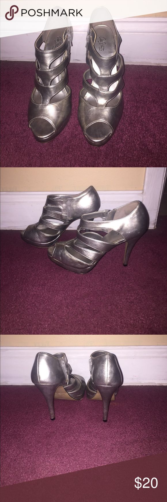 "Silver heels 4"" silver heels with zipper on inside; only worn once for a wedding! Shoes Heels"