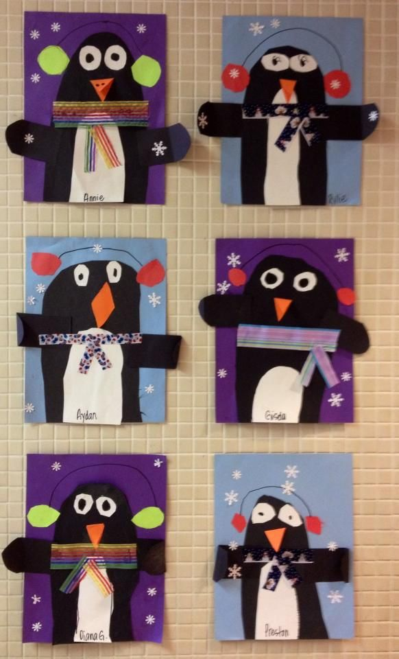 "from art teacher Christen Zajec: ""Party Like a Penguin!""This is a GREAT & easy lesson for teaching symmetry, how to fold paper, draw ONE circle, cut it out, and it magically makes TWO. No patterns.... I make them draw and cut out everything..... We waddle around the room like penguins.... look for 'party like a penguin' video on you tube."