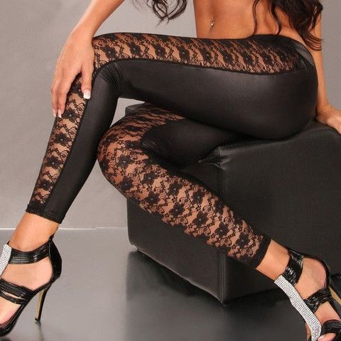 Lace Splicing Narrow Feet Fitted Faux Leather Leggings – teeteecee - fashion in style