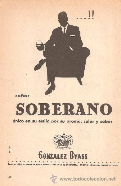 PUBLICIDAD DE SOBERANO GONZALEZ BYASS ANUNCIO DE BRANDY COÑAC CARTEL PEQUEÑO