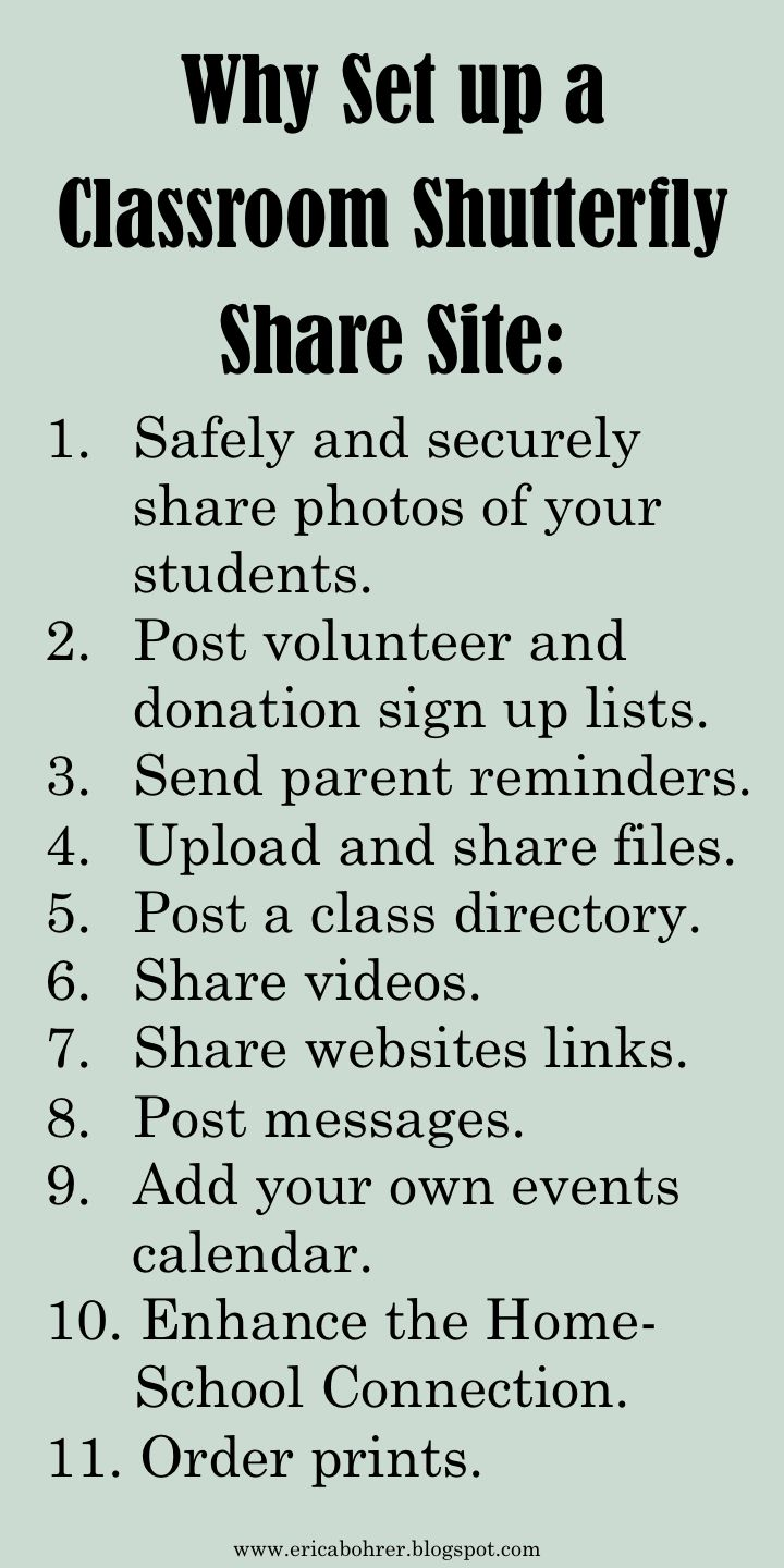 Every school year I set up a secure classroom photo share website. I have always used Shutterfly . They have this super easy to set up ...