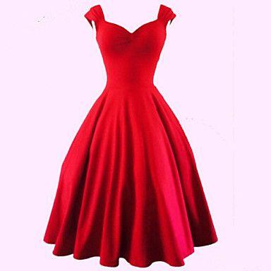 Women's Vintage/Plus Sizes 1950's Prom VTG Retro Rockabilly Hepburn Pinup Cos Party Swing Dress – USD $ 21.99