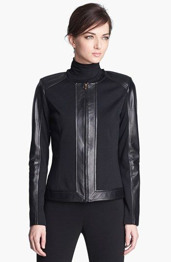 St. John Collection Leather Detail Milano Knit Jacket available at #Nordstrom