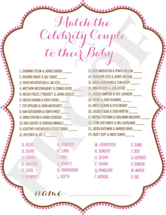 Celebrity Baby Matching Baby Shower Game Instant Download Pink Brown Celebrity Baby Showers Baby Shower Favor Tags Baby Shower Printables