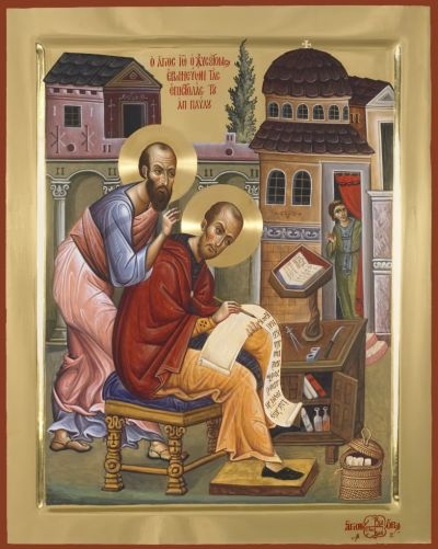 Saint John Chrysostom writing on Saint Paul's Epistles while the Apostle himself, leaning over his shoulder, guides and encourages him