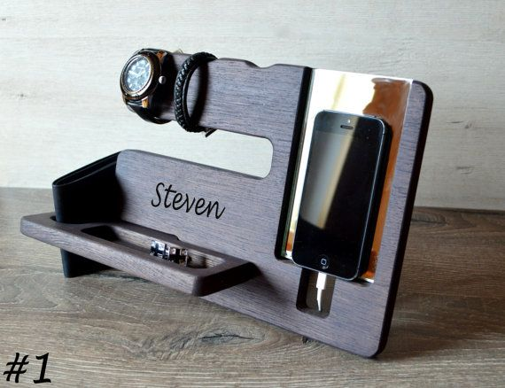 Personalized men docking station Gift for by DesignWoodenGadget