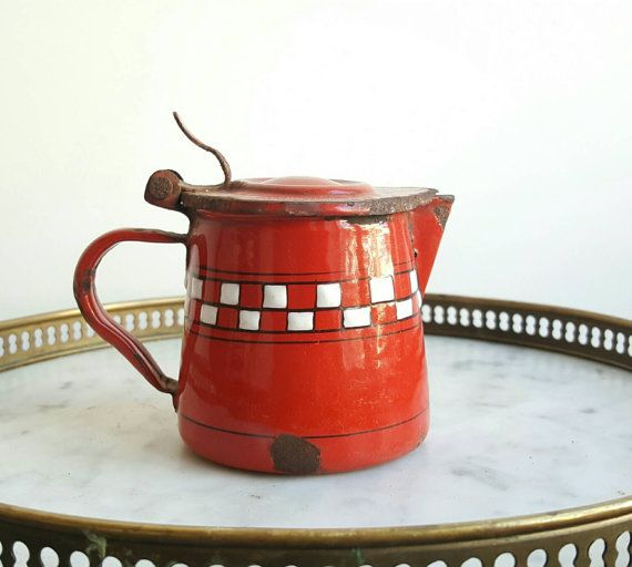 Vintage French provincial decor - vintage French enamelware - vintage enamelware - red enamelware - French kitchen - French rustic kitchen