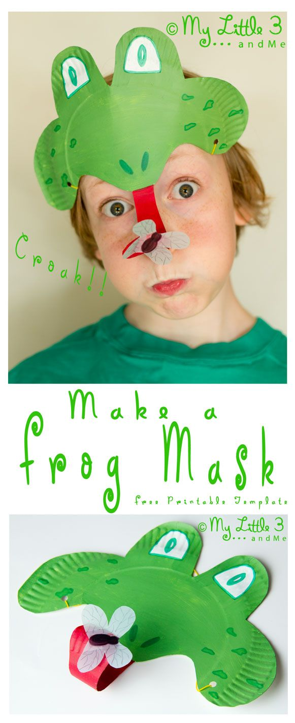 Make a curly tongued, fly catching, Paper Plate Frog Mask. CROAK! (mylittle3andme.co.uk)