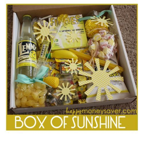 """Make Someone's Day 'Box of Sunshine"""" Gift Basket Read more at http://theberry.com/2014/03/25/25-diy-gift-baskets-for-any-occasion-28-photos/#cJLyMbSolK2TyvUZ.99"""