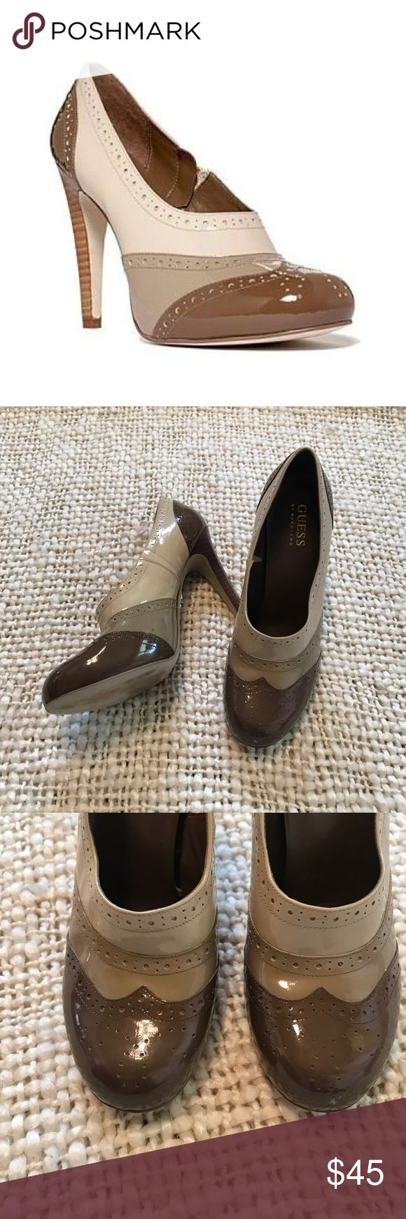 """Guess by Marciano Yerex leather bootie/pump 7.5 Adorable bootie/pump from Guess by Marciano. Style is called Yerex. Patent leather. In great condition. Some scuffing on the right heel pad, see photo. Heel height is 4.5"""". Guess by Marciano Shoes Heels"""