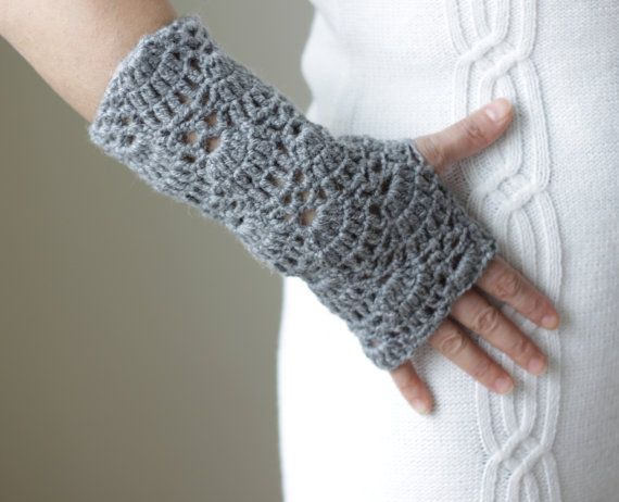 Lace Gloves Fingerless crocheted hand wrist arm by SENNURSASA, $20.00