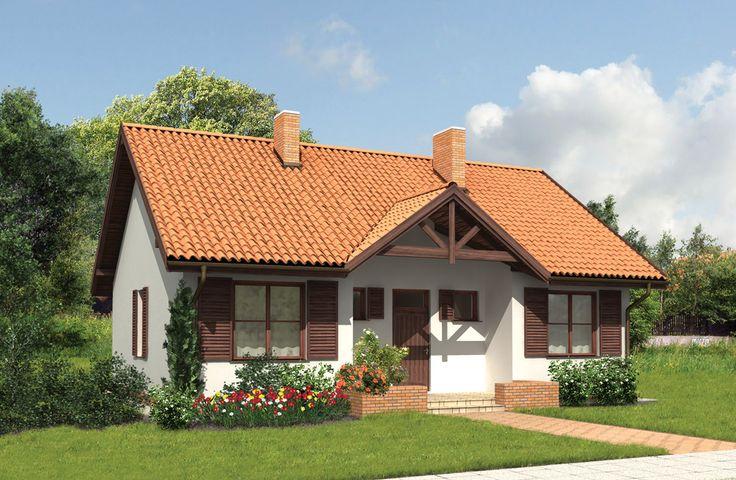 """""""Moje miejsce (etap II)"""" Murator M03 dzięki przemyślanej elewacji, ciepłym, drewnianym detalom wykończenia i prostej, symetrycznej bryle dom bez wątpienia przypadnie do gustu osobom szanującym prostotę i elegancję. Dzięki dobrze dobranym proporcjom i funkcjonalnym układem wnętrza, ten niewielki z pozoru dom, pozwoli wygodnie zamieszkać cztero- a nawet pięcioosobowej rodzinnie."""