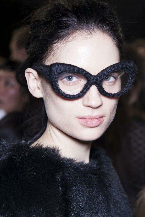 Ryan Lo fashion. Crochet glasses! via Ophelia Horton
