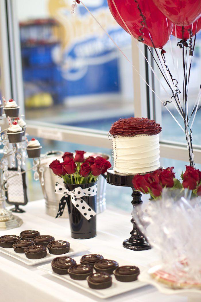Black, White + Red Elegant Birthday Party Elegant