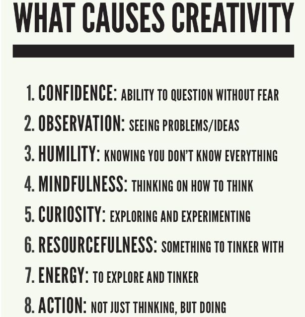 Could be interesting to have a class make a list of their own... What causes creativity?