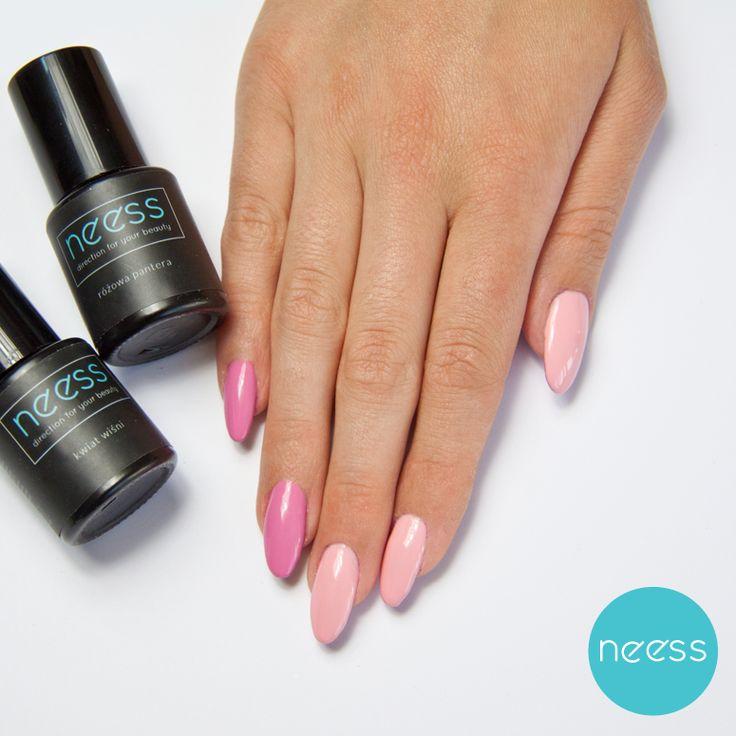 Stylizacje paznokci z lakierami hybrydowymi NEESS.  Pink nails