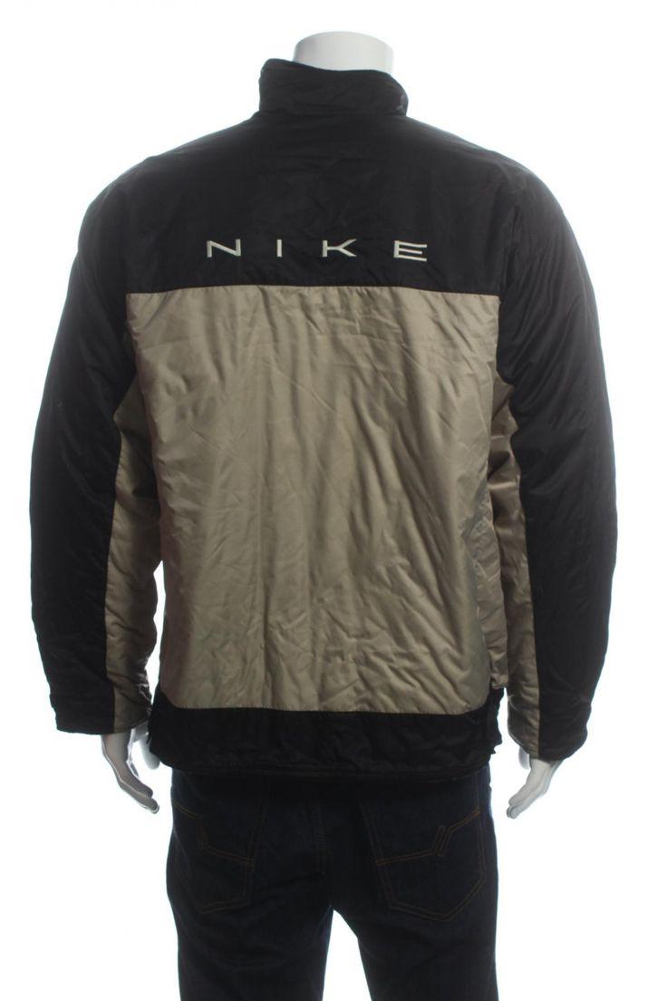 Vintage 90s Nike Swoosh Quilted Jacket Big Logo Spell Out Color Block  Black/Beige Size