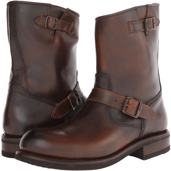 Frye Sutton Engineer (Whiskey Antique Full Grain) Cowboy Boots ($176) ❤ liked on Polyvore featuring men's fashion, men's shoes, men's boots, men's work boots, brown, mens buckle boots, frye mens boots, mens brown biker boots, mens brown work boots and american eagle mens boots