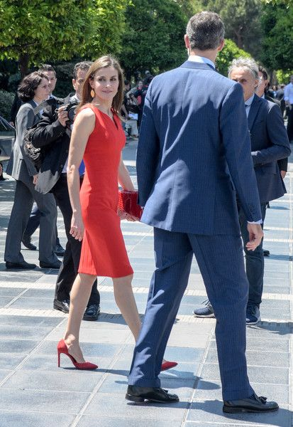 King Felipe VI of Spain (R) and Queen Letizia of Spain (L) attend the 'La Caixa' Scholarships held at the headquarters for La Caixa on May 23, 2017 in Barcelona, Spain.