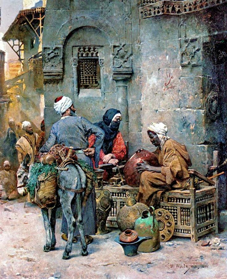 A Coppersmith, Cairo , 1884 by Charles Wilda - Austrian, 1854-1907...