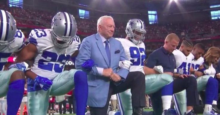 But in a twist, the Dallas Cowboys and owner chose to kneel before the national anthem played during the NFL's Monday Night Football game.