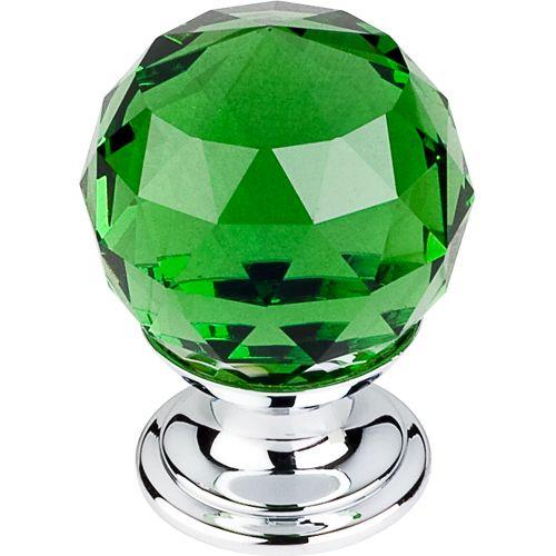 Green Crystal Knob 1 1/8'' TK119PC Polished Chrome Base